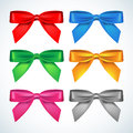 Bow set: red, blue, green gold, pink, silver bow set.   silky bow on a white background Royalty Free Stock Photo