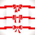 Bow set red icon illustrations Stock Photography