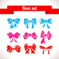 Bow set ribbon icon illustrations Royalty Free Stock Photography