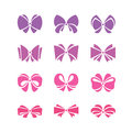 Bow set of silhouette vector colored bows on white background Stock Images