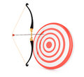 Bow and target on white background d render Royalty Free Stock Photos