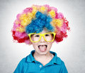 Bow with wig little boy wearing clown and mocks Stock Photography