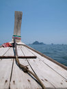 Bow of wooden boat at the Andaman Sea, Thailand Stock Photos