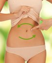 Bowel health bright closeup picture of woman showing belly Royalty Free Stock Images
