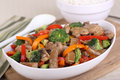 Bowl of Beef Stir Fry Royalty Free Stock Photo