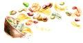 Bowl of beer snacks. Watercolor