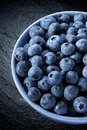Bowl of blueberries a fresh on a dark background Royalty Free Stock Photography