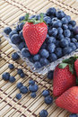 Bowl of Blueberries and Strawberries Royalty Free Stock Photo