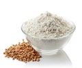 Bowl of buckwheat flour Royalty Free Stock Photo
