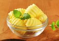 Bowl of butter curls fresh in glass Royalty Free Stock Photos