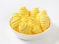 Bowl of butter curls fresh in glass Royalty Free Stock Image