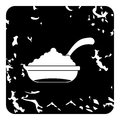 Bowl of caviar with spoon icon, grunge style