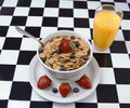 Bowl of cereal with fresh fruit Royalty Free Stock Images
