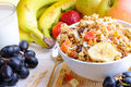 Bowl of cereal and fruits Royalty Free Stock Photo