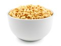 Bowl of cereal oat on a white background Stock Photography