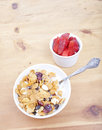 Bowl of cereal with strawberries Stock Photo