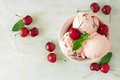Bowl of cherry chocolate ice cream, above view over white marble Royalty Free Stock Photo