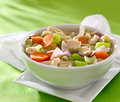 Bowl of chicken noodle soup Stock Image