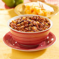 Bowl of chili with beans and beef Stock Images