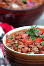 Bowl of chili con carne with garnish extreme shallow depth field with selective focus on garnished area Stock Photos