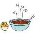 Bowl of chili and cornbread muffin