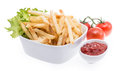 Bowl with Chips and Ketchup Stock Photography