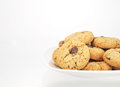 Bowl of chocolate chip cookies on white background Stock Image