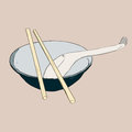 Bowl, chopsticks and spoon Royalty Free Stock Photo