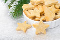 Bowl with christmas cookies in the shape of a star selective focus horizontal Royalty Free Stock Image