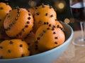 Bowl of Clove Studded Satsumas Royalty Free Stock Photo