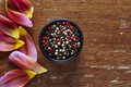 A bowl of colorful pepper in beautiful kitchen atmoshere Royalty Free Stock Photo