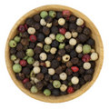Bowl of colorful rainbow peppercorns Stock Photos