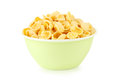 Bowl of cornflakes isolated on white Royalty Free Stock Photo