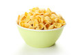 Bowl of cornflakes isolated on white. Royalty Free Stock Photo
