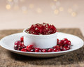 Bowl of cranberry sauce with cranberries fresh whole on white plate Stock Photos