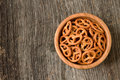 Bowl of crunchy pretzels with side light Royalty Free Stock Photos