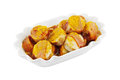 Bowl currywurst isolated white Stock Photos