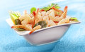 Bowl of delicious grilled prawn or shrimp tails Royalty Free Stock Photo