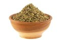 A bowl of dried aromatic herb : Sweet Marjoram Royalty Free Stock Photography