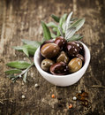 Bowl filled with black olives Royalty Free Stock Photo
