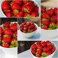 Bowl filled with succulent juicy fresh ripe red strawberries white Stock Photography