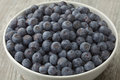 Bowl with fresh blue berries Royalty Free Stock Photo