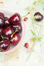 Bowl of fresh cherries Royalty Free Stock Photo
