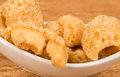 Bowl fresh crunchy pork rinds bar counter Stock Images