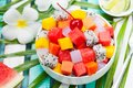 Bowl of fresh exotic fruit salad Healthy breakfast Royalty Free Stock Photo