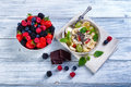Bowl of fresh fruit. Bblackberries; raspberries; blueberries. Royalty Free Stock Photo