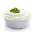Bowl of fresh garlic dip on white background Stock Image