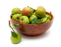 Bowl with fresh pears on white background Stock Image
