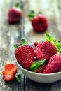 bowl of fresh strawberries Royalty Free Stock Photo