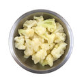Bowl Frozen Cauliflower Overhead View Stock Photo